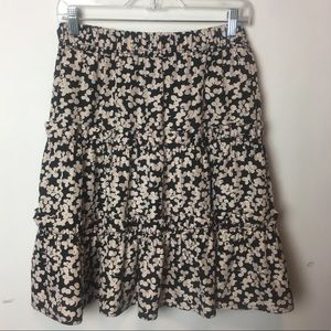 Marc Jacobs Floral Print Silk Tiered Pleated Skirt